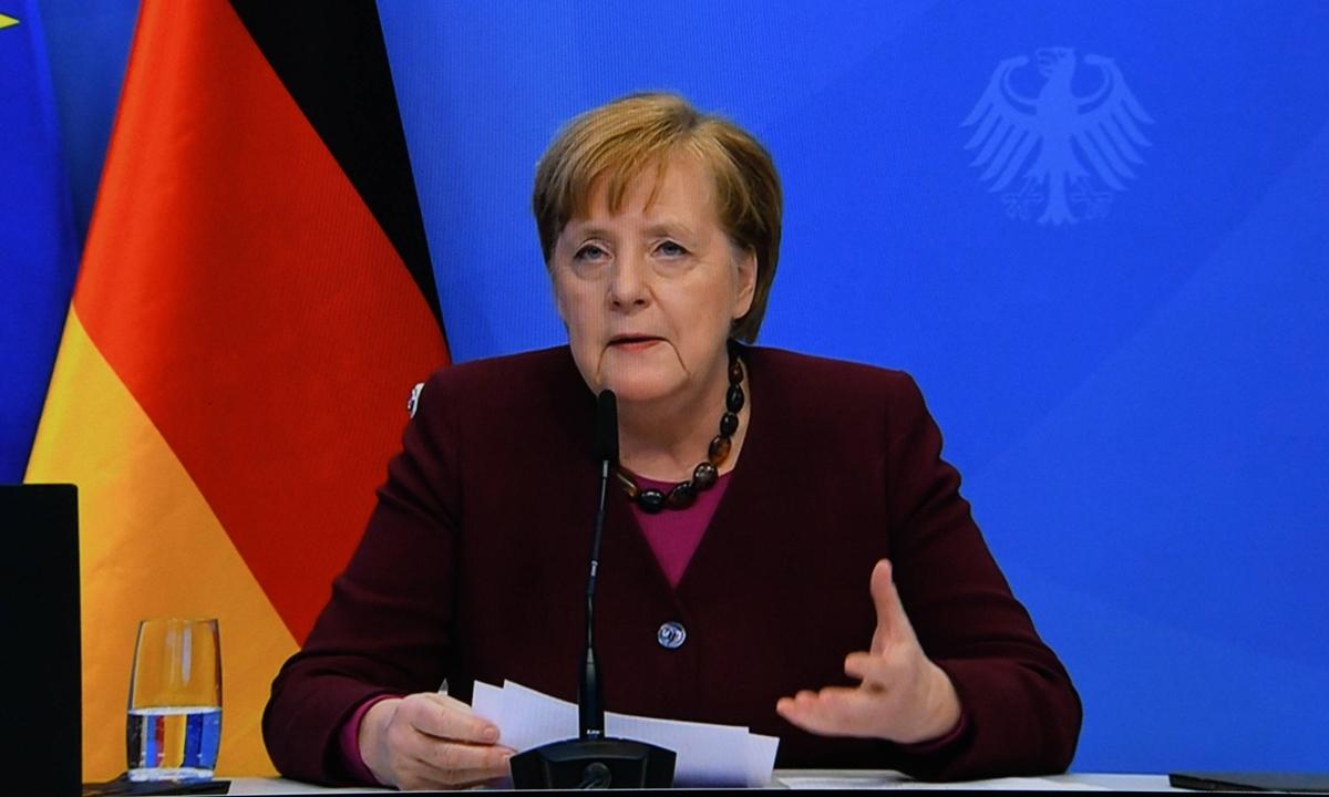 German Chancellor Angela Merkel addresses at CDU Party Congress in Berlin, Germany, on January 15, 2021. Photo: VCG