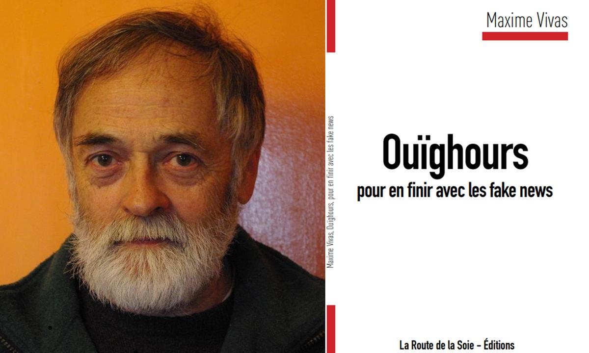 French writer Maxime Vivas and his book Ouïghours, pour en finir avec les fake news. Photo: Courtesy of Maxime Vivas