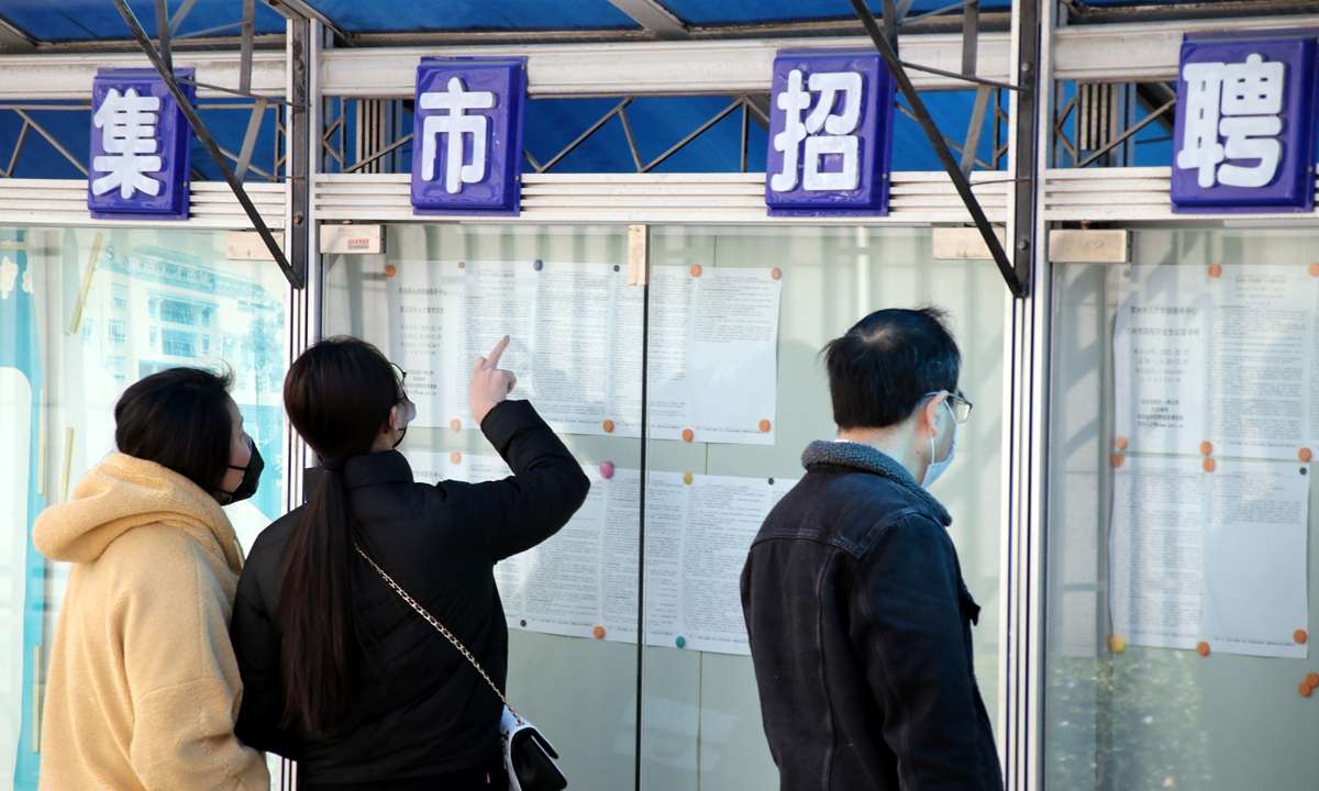 Job hunters view recruitment information at an employment fair in Suzhou, East China's Jiangsu Province on Thursday – the first working day after the Spring Festival holidays. Suzhou will hold more than 100 recruitment events to help stabilize local employment. Photo: cnsphoto