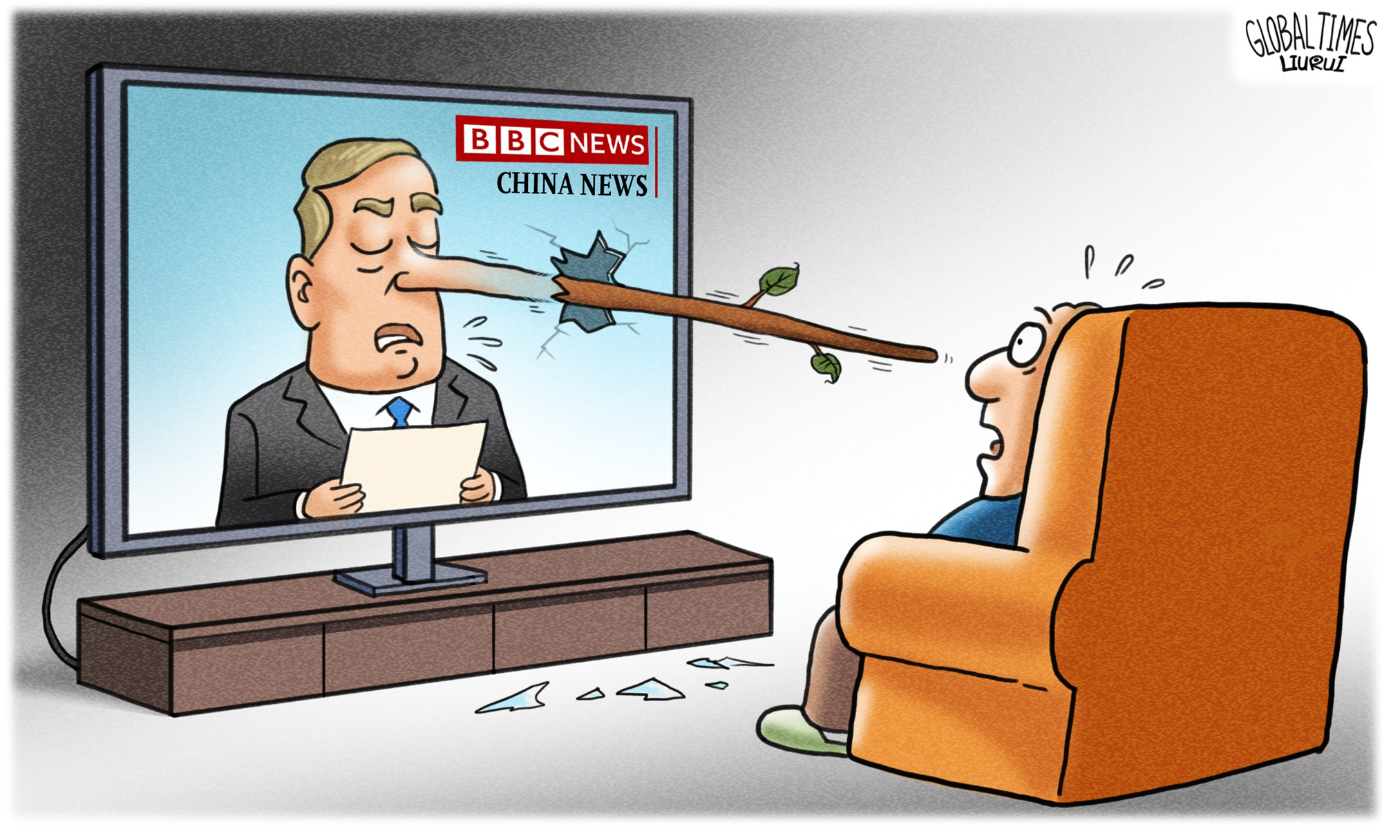 Fake news is like Pinocchio's nose, the more you lie, the longer it grows. Illustration: Liu Rui/GT