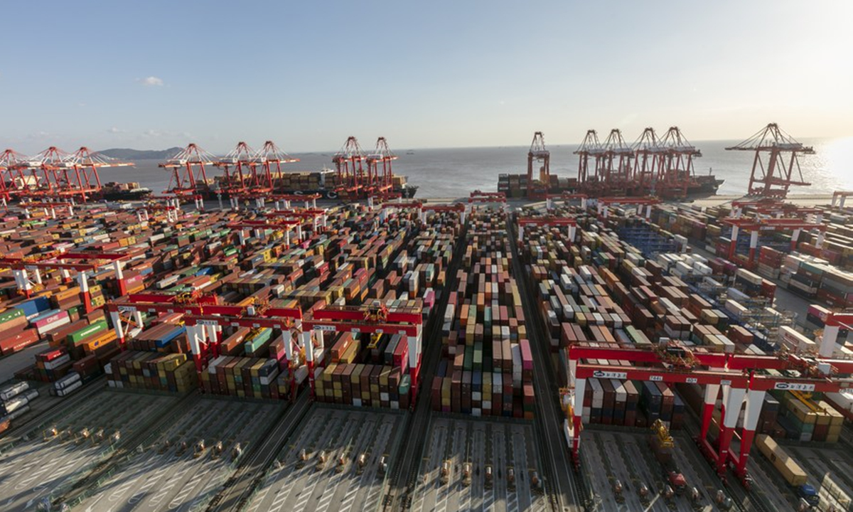 An aerial photo taken on Nov. 3, 2020 shows the container dock of Yangshan Port in Shanghai, east China. (Xinhua/Wang Xiang)