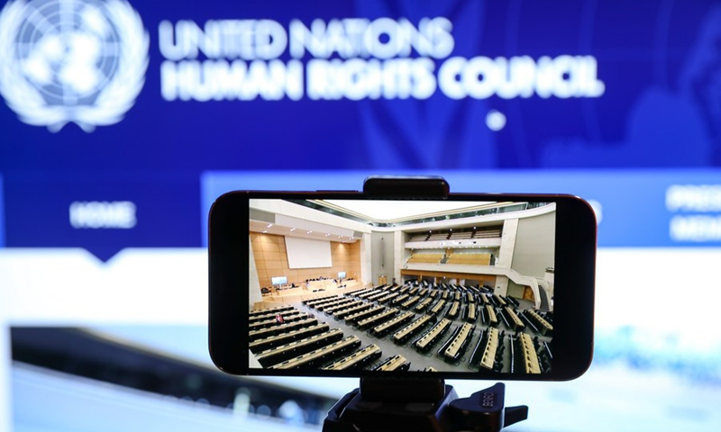 Photo taken on Feb. 22, 2021 in Brussels, Belgium shows a screen displaying the 46th session of the United Nations Human Rights Council (UNHRC) held in Geneva, Switzerland.(Photo: Xinhua)