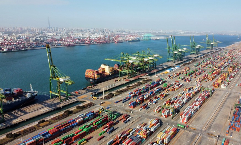 Aerial photo taken on Jan. 11, 2021 shows a view of the Pacific international container terminal at the Tianjin Port of north China's Tianjin Municipality.(Photo: Xinhua)