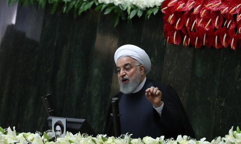 Iranian President Hassan Rouhani addresses the opening session of Iran's new parliament in Tehran, Iran, May 27, 2020. (Photo: Xinhua)