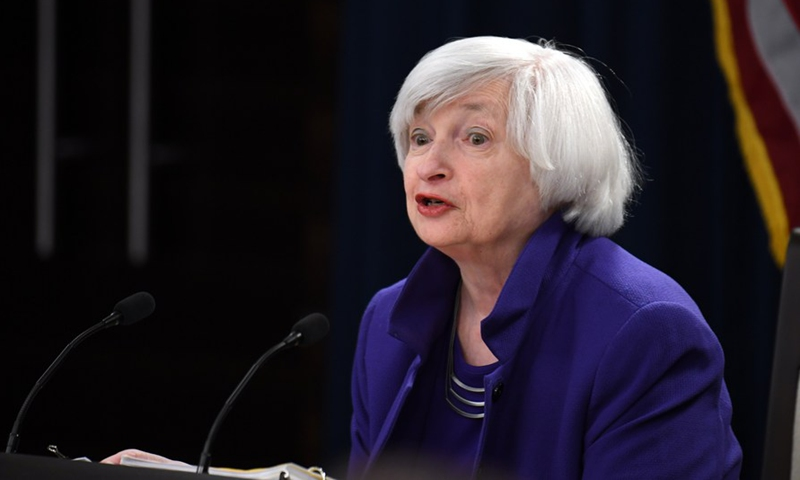 US Federal Reserve Chair Janet Yellen speaks during a news conference in Washington D.C., the United States, on Dec. 13, 2017. (Xinhua/Yin Bogu)