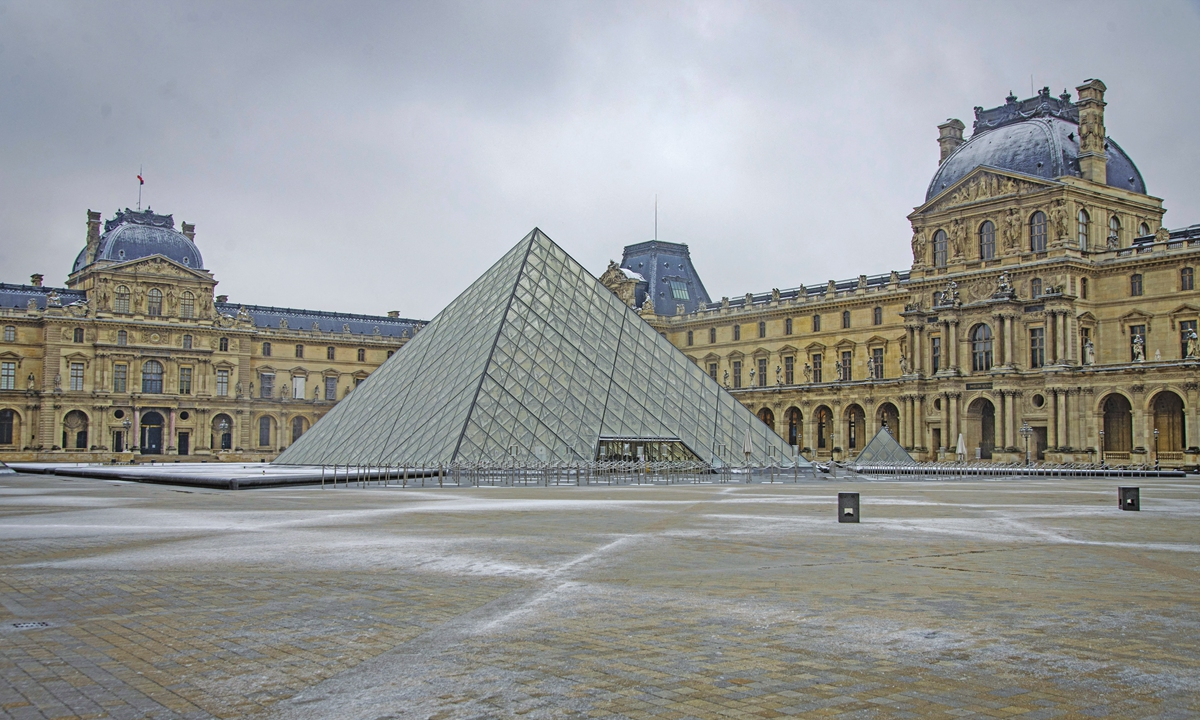 A general view of snow outside the Louvre Museum in Paris on January 16 Photo: AFP