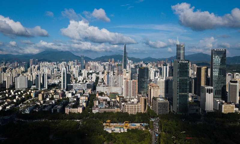 Aerial photo taken on Aug. 13, 2020 shows a view of Shenzhen, south China's Guangdong Province. (Xinhua/Mao Siqian)
