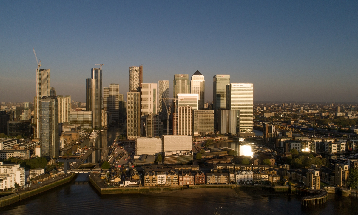 Skyscrapers housing the offices of global financial institutions, business and shopping district in this aerial view in London, U.K. on Wednesday, April. 22, 2020.  Photo: VCG