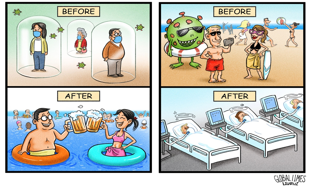 Before and After: How to battle against coronavirus. Illustration: Liu Rui/GT