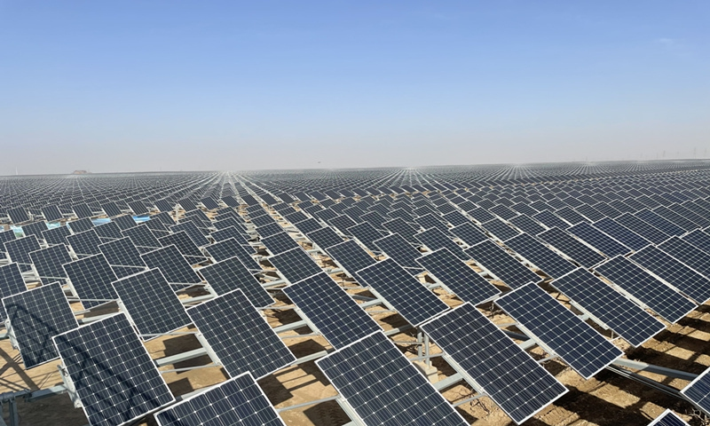 View of the world's largest solar park in Yinchuan, Northwest China's Ningxia Hui Autonomous RegionPhoto: Shen Weiduo/GT