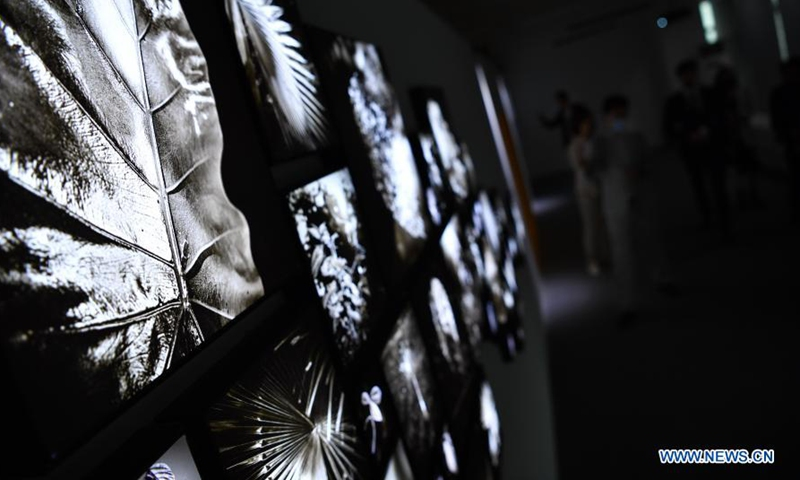 Photo taken on March 2, 2021 shows items on display at the Dreamy Ocean - Composition of Ecological Space art exhibition at the Windows to Global Trade center in Haikou City, south China's Hainan Province. The exhibition, which kicked off Tuesday, covers a total display area of 1,500 square meters and is expected to conclude on March 15, free of admission fee.Photo:Xinhua