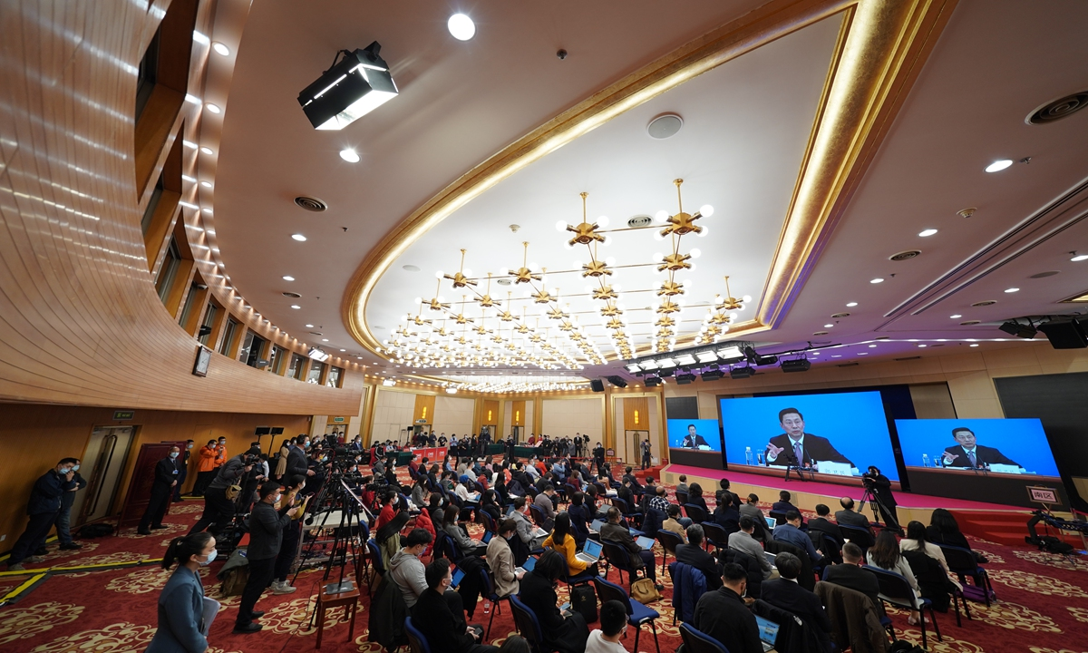 Guo Weimin, spokesperson for the fourth session of the 13th National Committee of theChinese People's Political Consultative Conference (CPPCC), speaks to media at a press conference on Wednesday, ahead of the top political advisory body's annual session. Photo: VCG