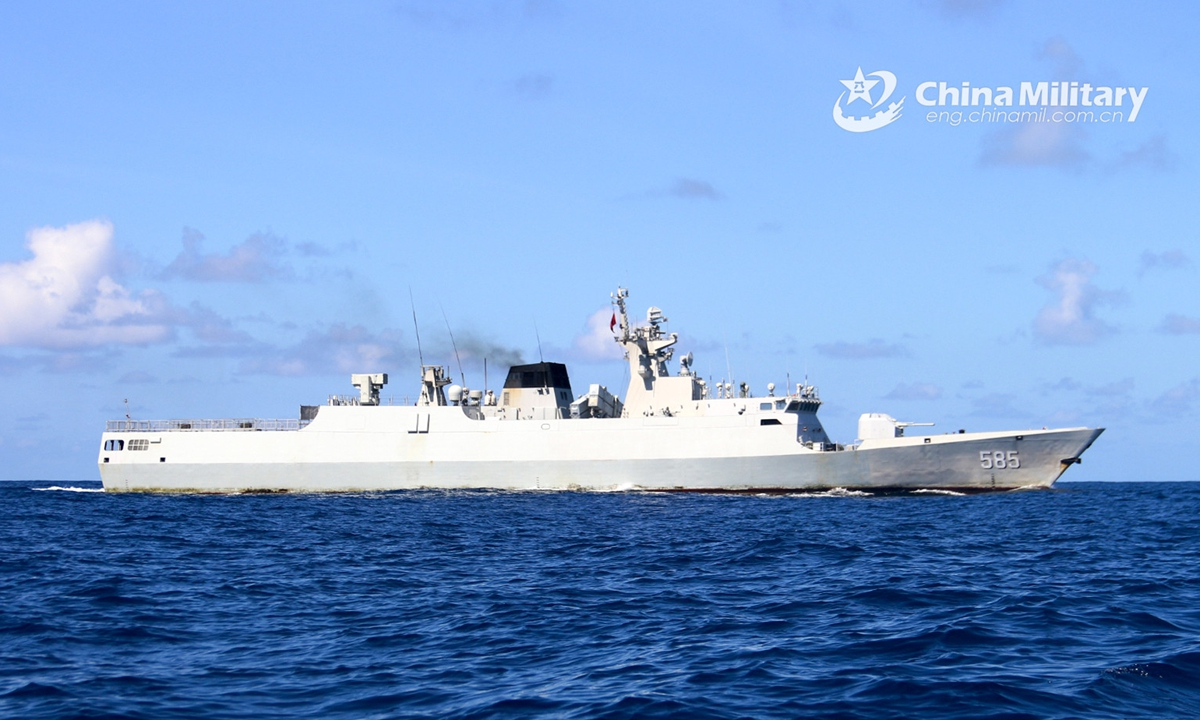 The guided-missile frigate Baise (Hull 585) attached to a frigate flotilla with the navy under the PLA Southern Theater Command steams in waters of the South China Sea during a combat-readiness maritime patrol mission on February 16, 2021.Photo:China Military