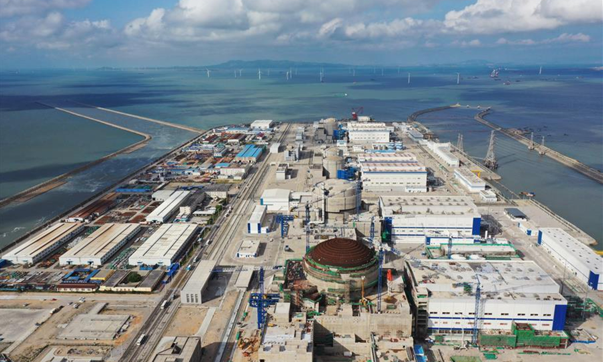 Aerial photo taken on Aug. 31, 2020 shows a panoramic view of Fuqing project in the city of Fuqing, southeast China's Fujian Province. Fuel loading started Friday at China's first nuclear power unit using Hualong One technology, a domestically developed third-generation reactor design, bringing the unit one step closer to operation. Photo: XinHUA/Guo Donghai