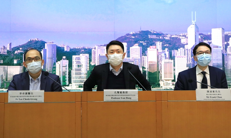 Co-convenor of Hong Kong's Expert Committee on Clinical Events Assessment Following COVID-19 Immunization Ivan Hung (C) at a press conference in Hong Kong, south China on March 3, 2021.(Photo: Xinhua)