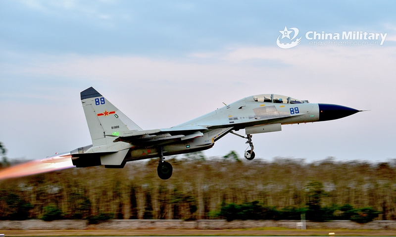 A fighter jet attached to a naval aviation brigade under the PLA Southern Theater Command takes off for a 2-day continuous flight training exercise from February 24 to 25. Multi types of fighter jets participated in the flight training mission which included various offense and defense operations.   Photo:China Military Online