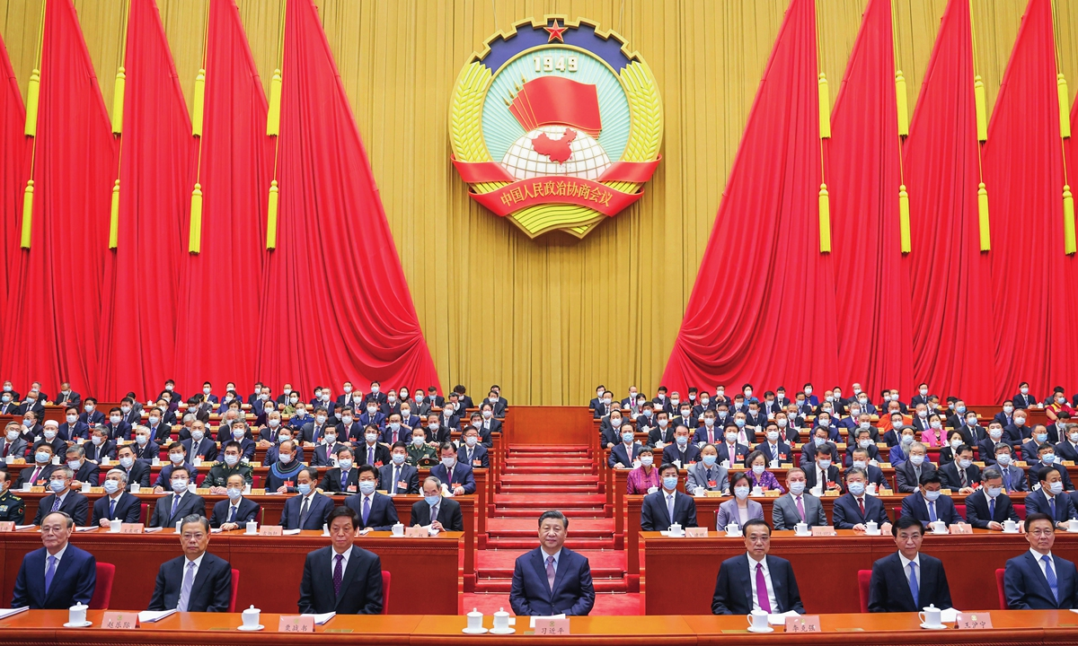 Chinese President Xi Jinping and other Chinese leaders attend the opening meeting of the fourth session of the 13th National Committee of the Chinese People's Political Consultative Conference at the Great Hall of the People on Thursday. Photo: Xinhua