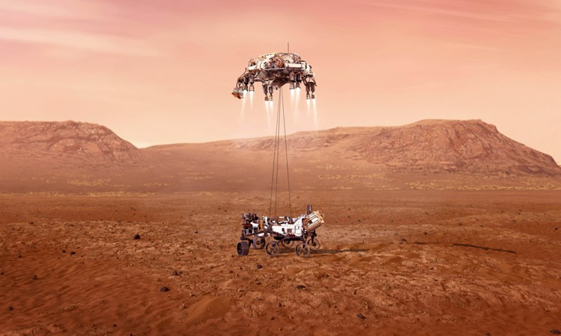 This image made available by NASA shows an illustration of NASA's Perseverance rover landing safely on Mars. (Photo:Xinhua)
