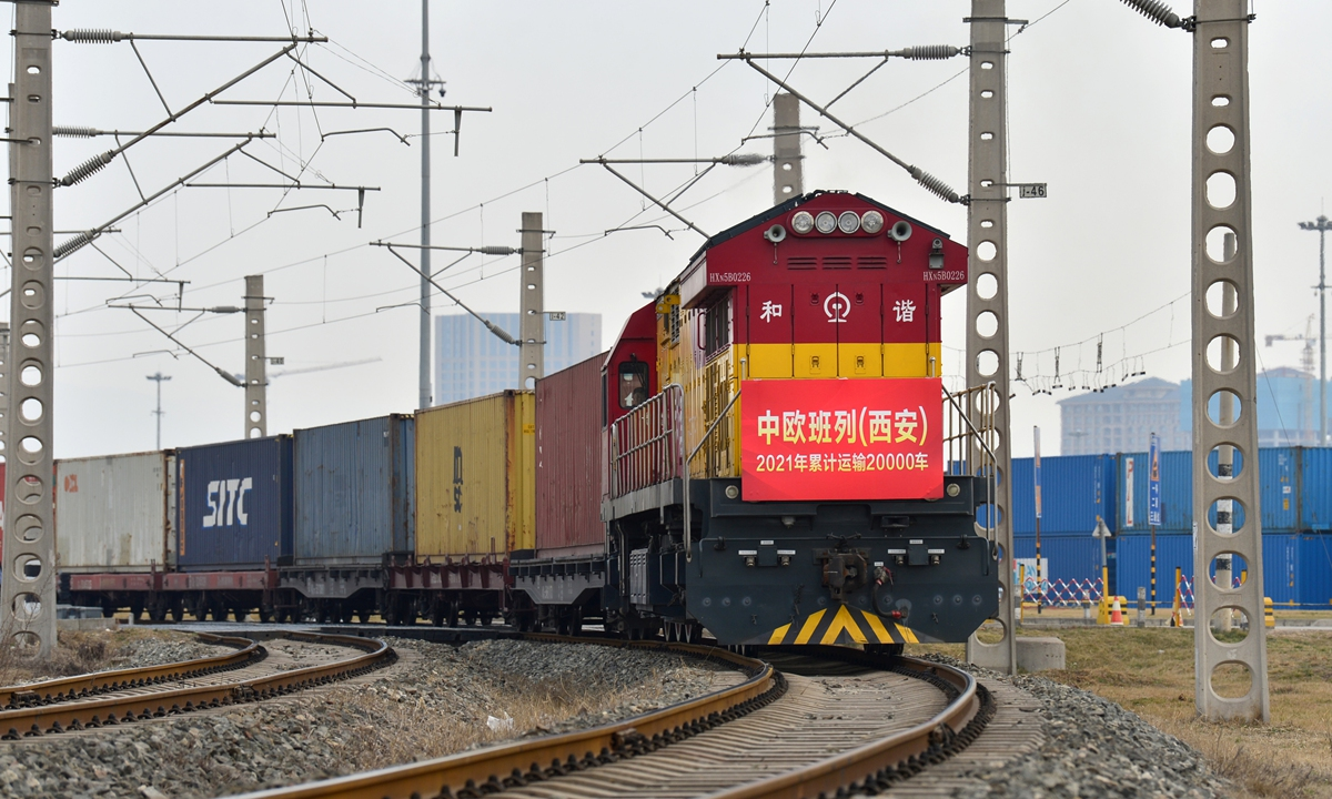 China-EU freight train, carrying juice, plastic products and daily necessities, pulls out of the station at Xi'an, Northwest China's Shaanxi Province, heading to Khorgas in Northwest China's Xinjiang Uygur Autonomous Region on February 22. Photo: cnsphoto