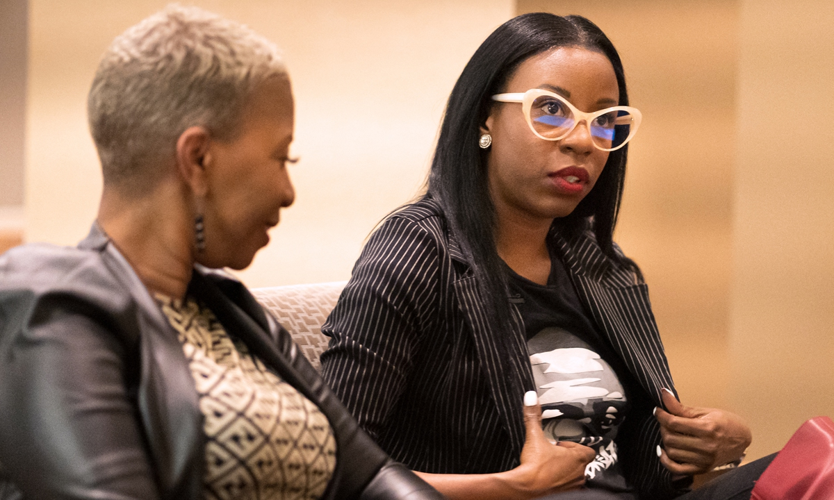 George Floyd's cousin Shareeduh Tate (left) and daughter Tedra McGee, speak during an interview after the second day of jury selection began in the trial of former Minneapolis Police officer Derek Chauvin accused of killing Floyd on Tuesday. Photo: AFP