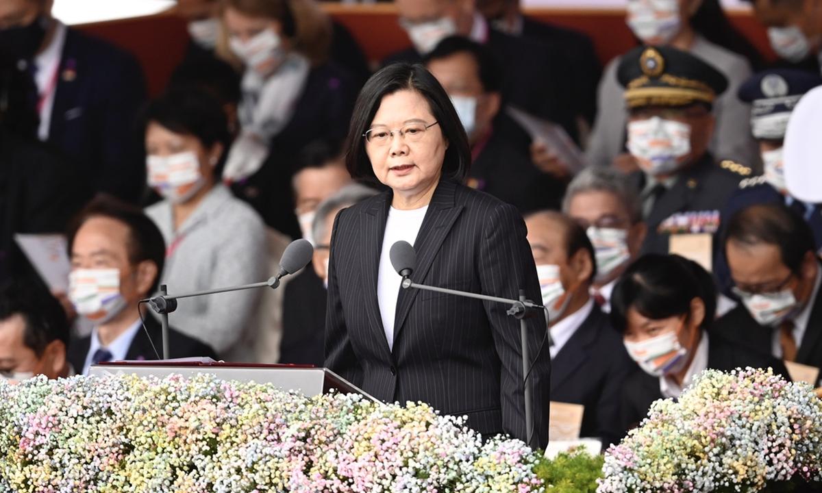 Taiwan regional leader Tsai Ing-wen speaks during the Double Ten address in Taipei. Photo: AFP