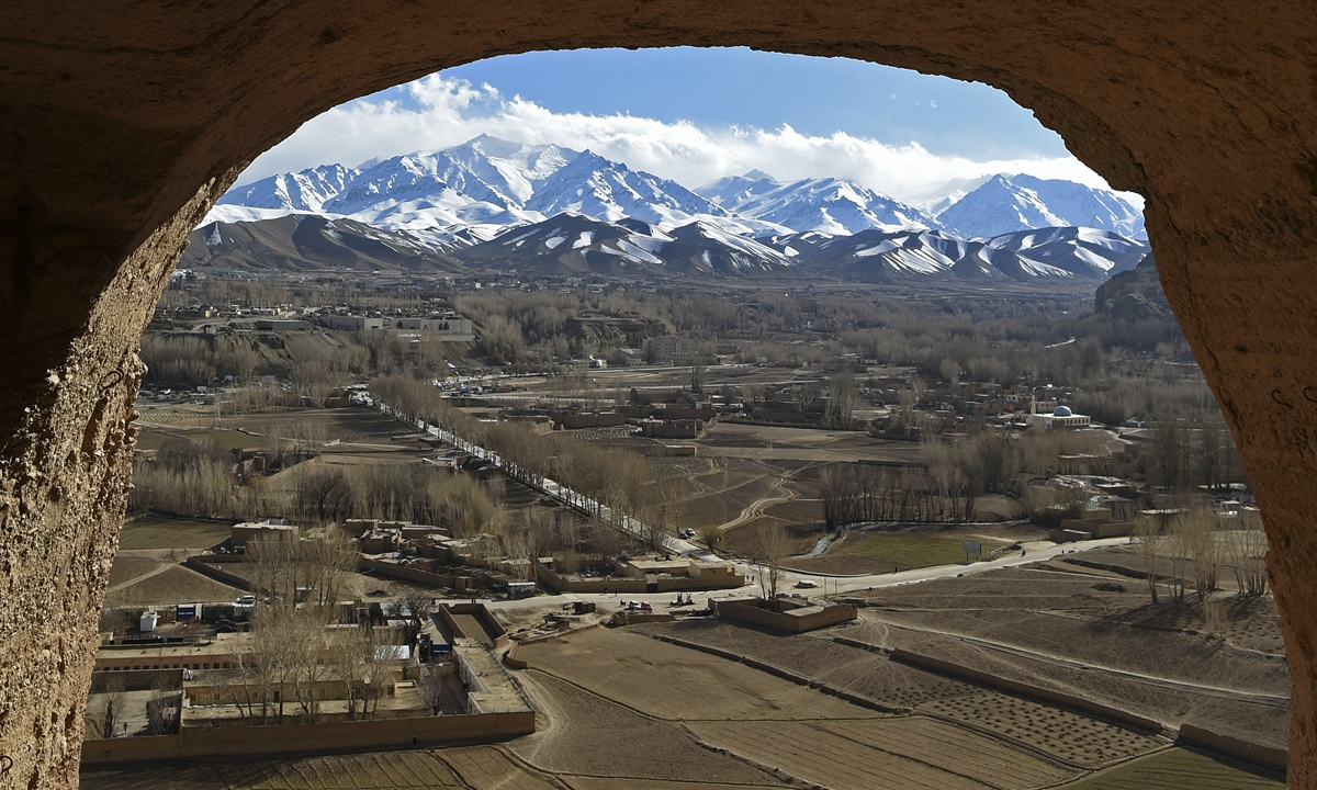 A general view shows the site of the Buddhas of Bamiyan statues, which were destroyed by the Taliban in 2001, in Bamiyan Province, Afghanistan. Photo: AFP