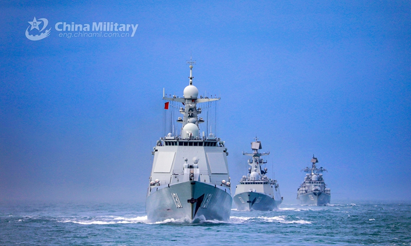 A naval fleet comprised of the guided-missile destroyers Ningbo (Hull 139) and <em>Taiyuan</em> (Hull 131), as well as the guided-missile frigate Nantong (Hull 601), steams in astern formation in waters of the East China Sea during a maritime training drill in late January, 2021. Photo:China Military Online