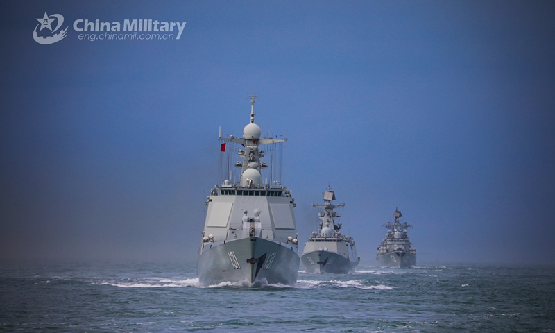 A naval fleet comprised of the guided-missile destroyers Ningbo (Hull 139) and Taiyuan (Hull 131), as well as the guided-missile frigate Nantong (Hull 601), steams in astern formation in waters of the East China Sea during a maritime training drill in late January, 2021. Photo:China Military Online