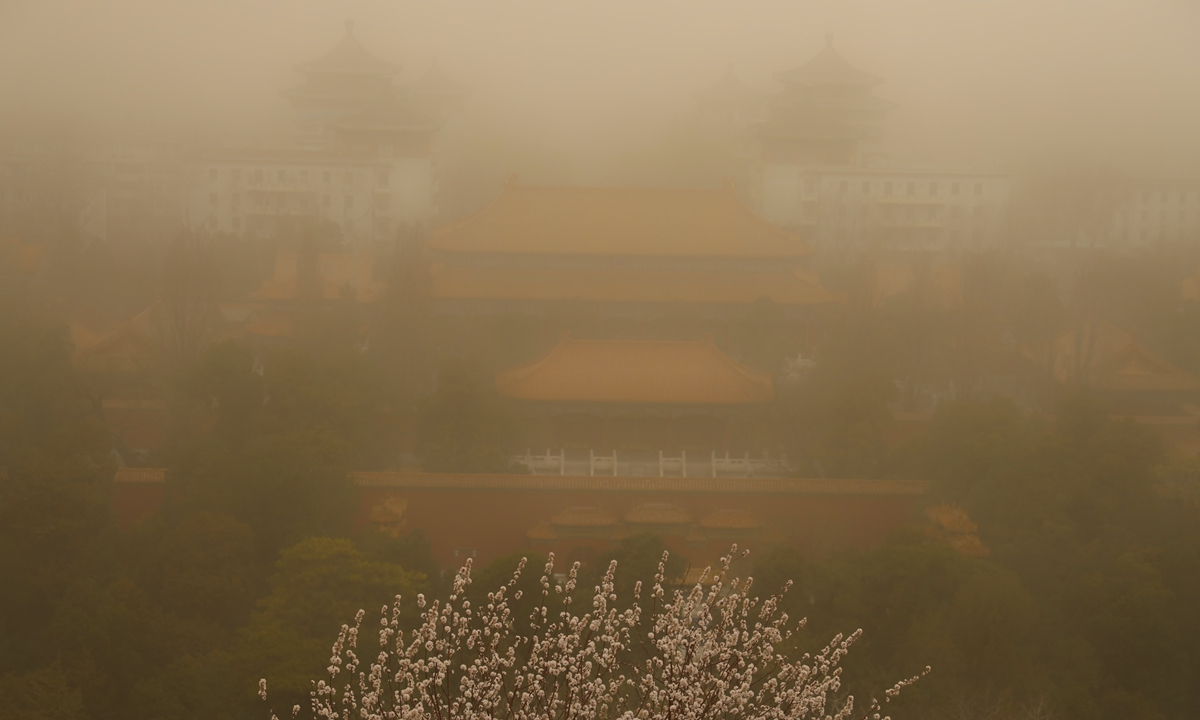 Beijing city issued a yellow alert for sandstorm as a severe sandstorm smothered the capital and other northern Chinese regions Monday morning. The meteorological agency called it the