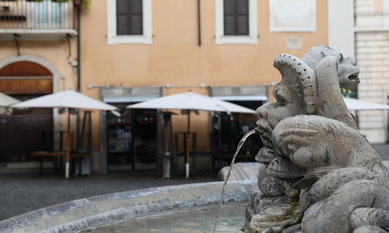 A restaurant is closed near the Pantheon in Rome, Italy, March 15, 2021. Italy entered into a new period of semi-lockdown on Monday, with over half of its 20 regions falling into the red zone and subject to the maximum level of restrictions.(Photo: Xinhua)