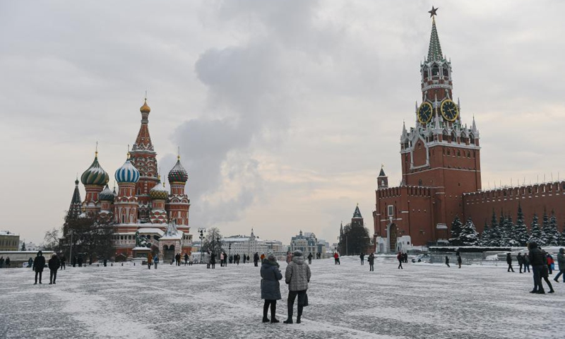 People walk in Red Square in Moscow, Russia, on Jan. 15, 2021.(Photo: Xinhua)