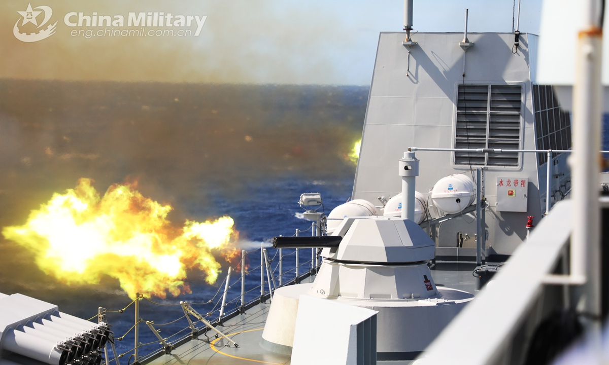 The close-in weapon system of the amphibious dock landing ship <em>Wuzhishan</em> (Hull 987) fires at the mock target at sea during the actual combat training organized by a naval landing ship flotilla under the PLA Southern Theater Command in late February, 2021. Photo:China Military