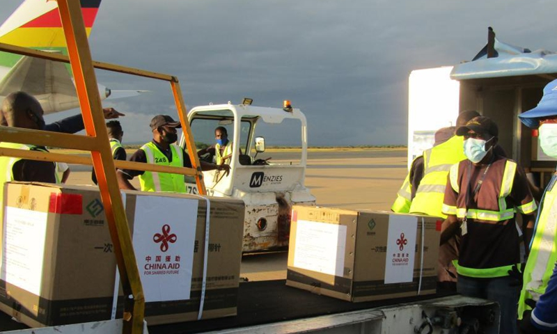 Boxes containing China-donated vaccines are loaded onto a truck at the Hosea Kutako International Airport in Namibia's capital Windhoek on March 16, 2021.Photo:Xinhua