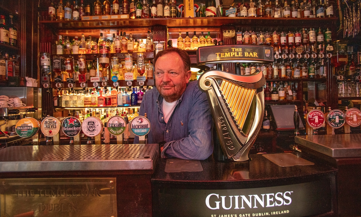 Tom Cleary, owner of the Temple Bar poses for a picture at his pub in the Temple Bar area of Dublin City centre on Monday. Photo: AFP