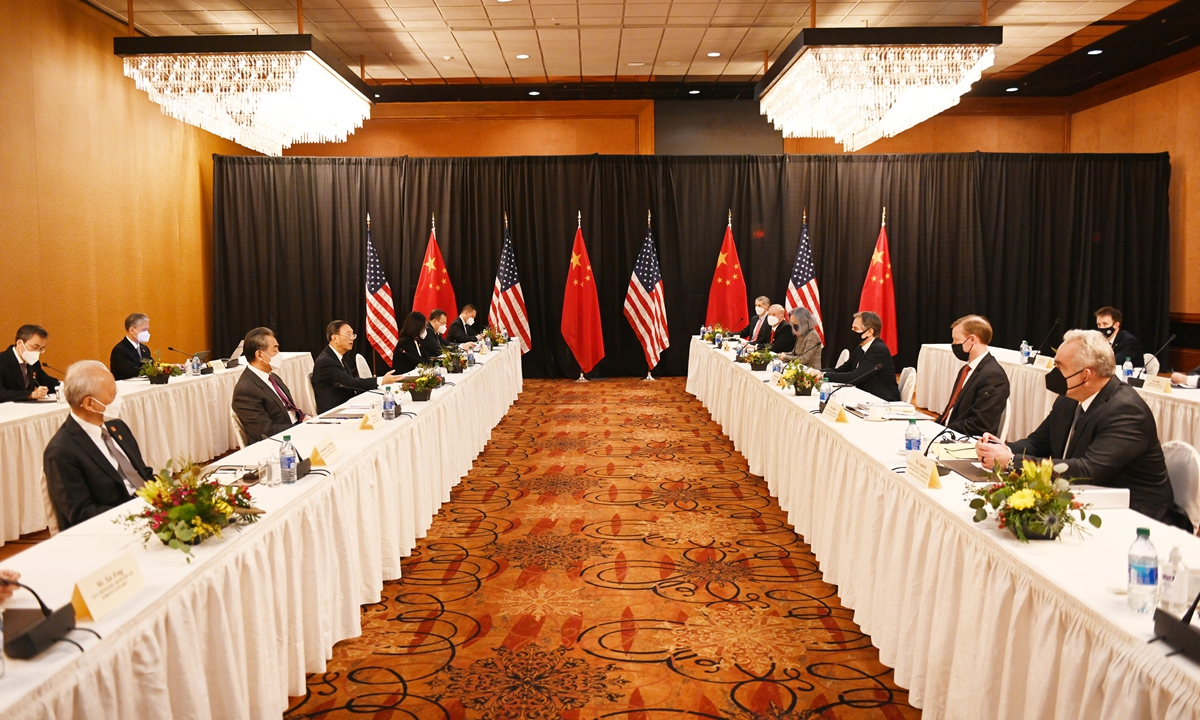 Chinese diplomats state China's position in the opening remarks of the China-US high-level strategic dialogue in Anchorage, Alaska, on Thursday local time.  Photo: cnsphoto