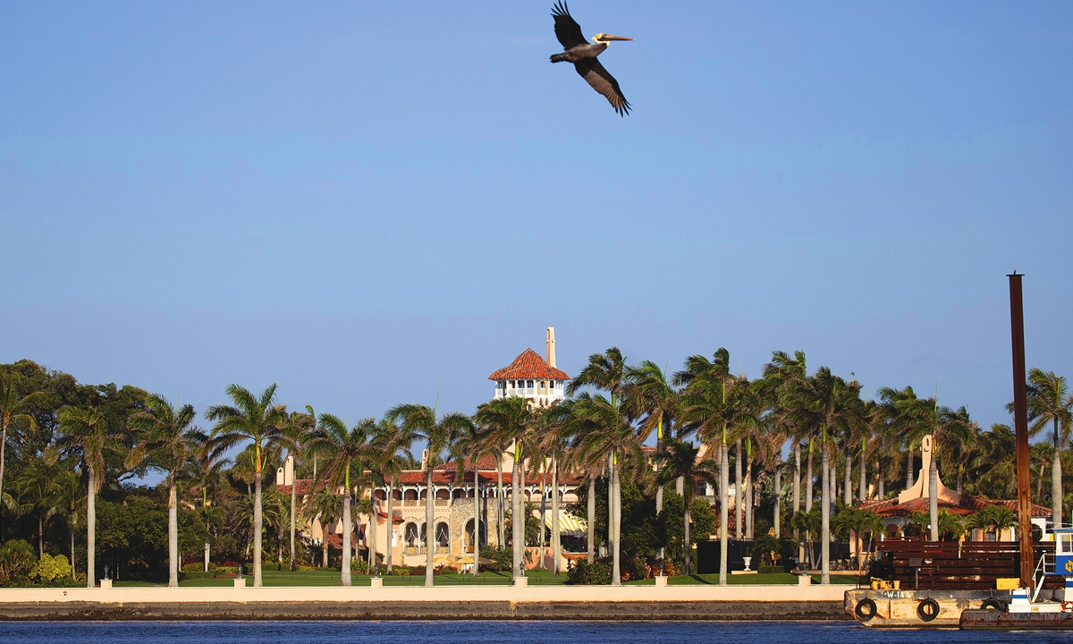 Former president Donald Trump's Mar-a-Lago resort where he resides after leaving the White House Photo: VCG