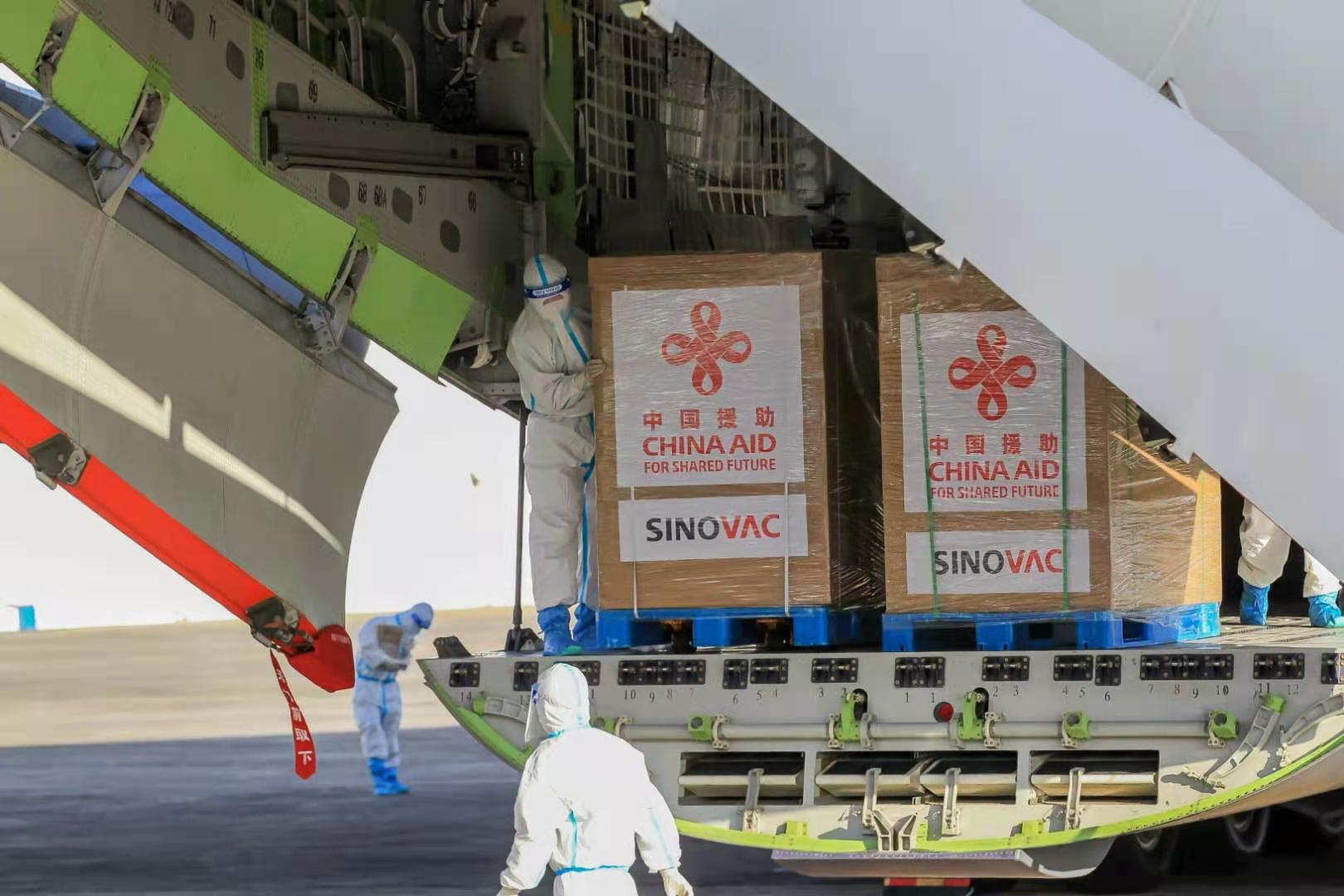 The first batch of Sinovac Coronavirus vaccine delivered by China arrives at the Villamor Air Base in Manila, capital of the Philippines, on the afternoon of February 28, local time. Photo: cnsphoto