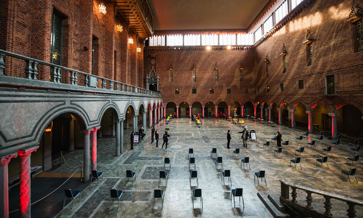 Preparations take place at Stockholm's City Hall to convert the venue for the Nobel Prize banquets into a COVID-19 vaccination centre for a day on February 21 in the capital of Sweden, amid the novel coronavirus. Photo: VCG