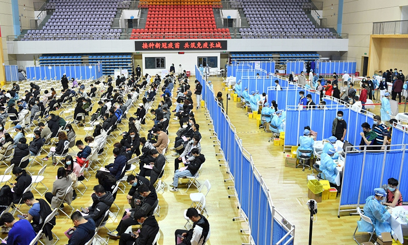 Students, faculty and staff of China University of Geosciences in Beijing get vaccinated on March 20, 2021. Photo: CFP