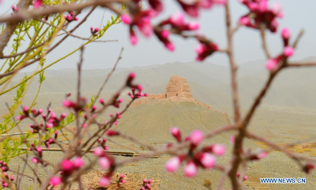 Aerial photo taken on March 22, 2021 shows the ruins of the Subax buddhist temple in Kuqa City of northwest China's Xinjiang Uygur Autonomous Region. The Subax buddhist temple, intially built in the 3rd century A.D., was once an influential temple in the ancient Qiuci State. (Xinhua/Su Chuanyi)