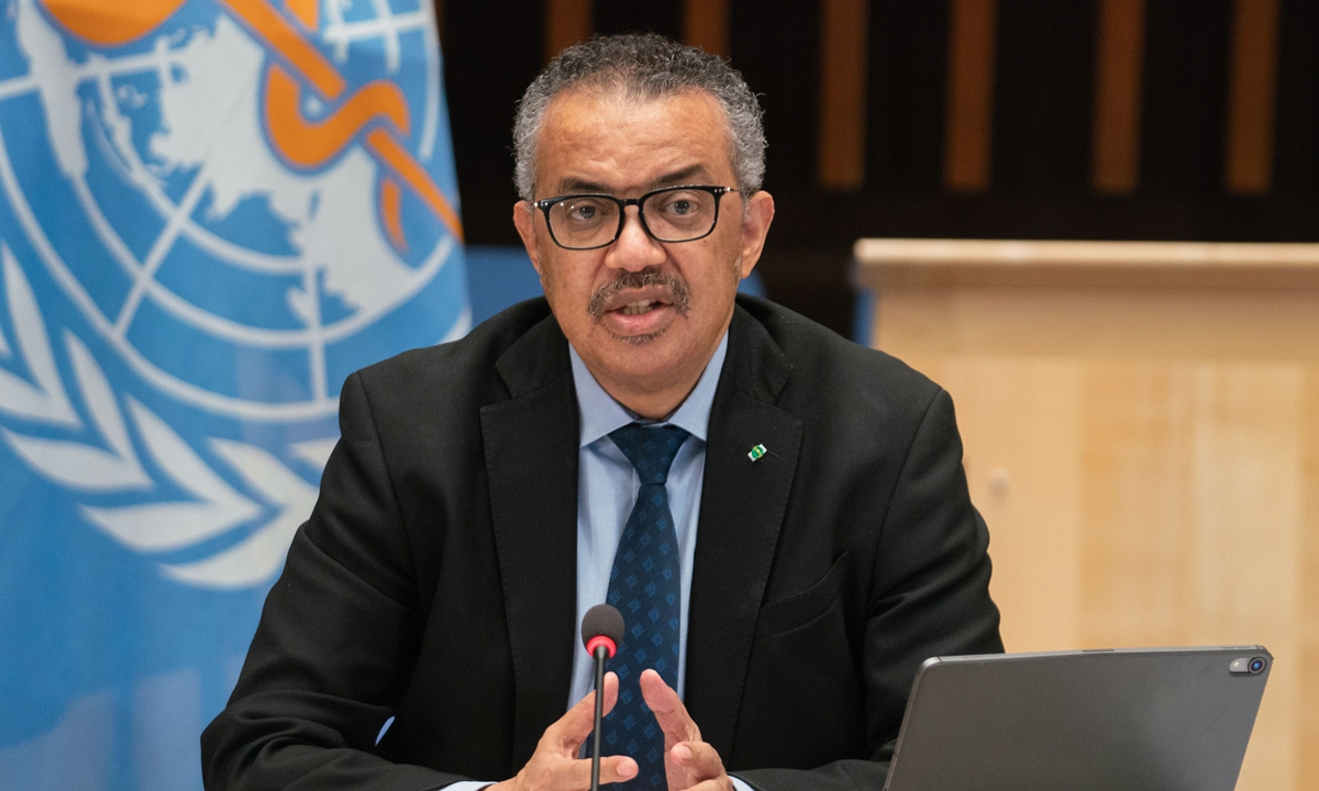 WHO Director-General Tedros Adhanom Ghebreyesus delivering remarks following the speech of US President's chief medical adviser during a World Health Organization (WHO) executive board meeting on January 21, 2021 in Geneva. Photo: VCG