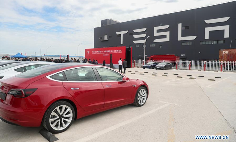 Photo taken on Oct. 26, 2020 shows the Tesla China-made Model 3 vehicles at its gigafactory in Shanghai, east China. Photo: Xinhua
