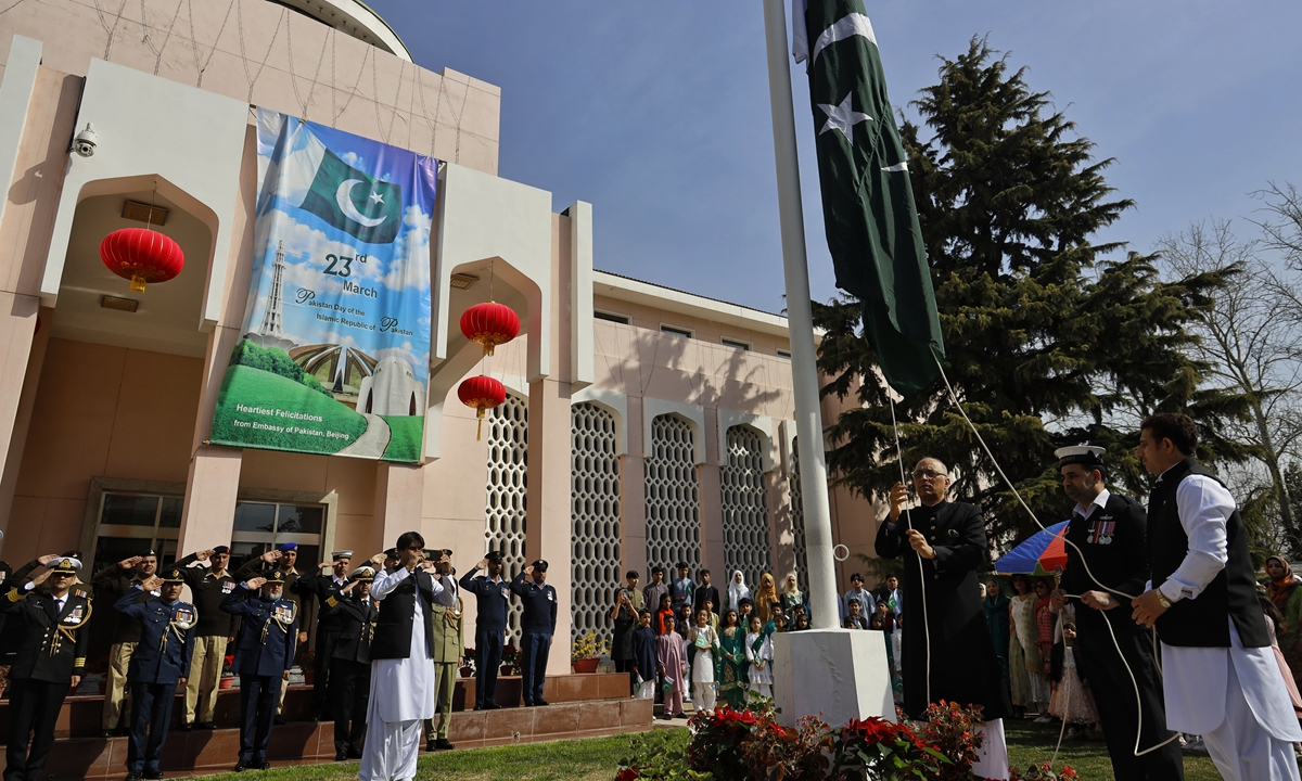 Pakistani Ambassador to China Moin ul Haque at the national flag hoisting ceremony on Tuesday at the Pakistani Embassy in Beijing Photo: Li Hao/GT