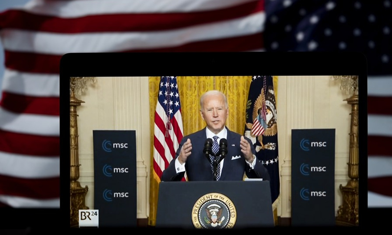 Photo taken in Arlington, Virginia, the United States, on Feb. 19, 2021 shows a screen displaying U.S. President Joe Biden speaking in Washington, D.C. during a virtual event with the Munich Security Conference in a video provided by the U.S. State Department.(Photo: Xinhua)