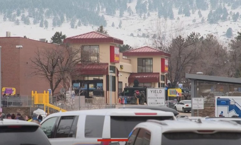 A screenshot of web streaming shows the King Soopers supermarket in the city of Boulder, Colorado, the United States. Ten people were killed in the mass shooting at the supermarket on March 22, 2021.(Photo: Xinhua)