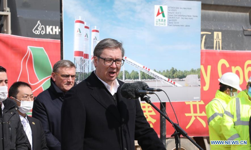 Serbian President Aleksandar Vucic speaks while visiting a construction site along the Iverak-Lajkovac expressway near the town of Klanica, Serbia on March 23, 2021.  (Photo:Xinhua)