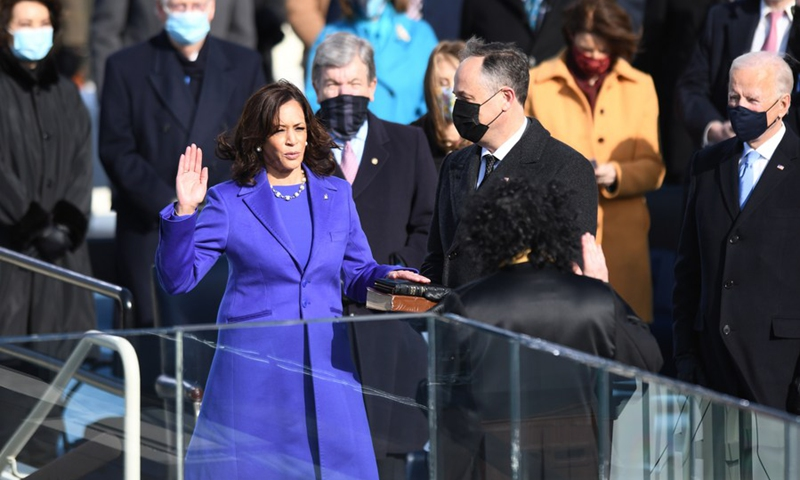 U.S. Vice President-elect Kamala Harris (L, Front) is sworn in as the 49th Vice President of the United States in Washington, D.C., the United States, on Jan. 20, 2021.(Photo: Xinhua)