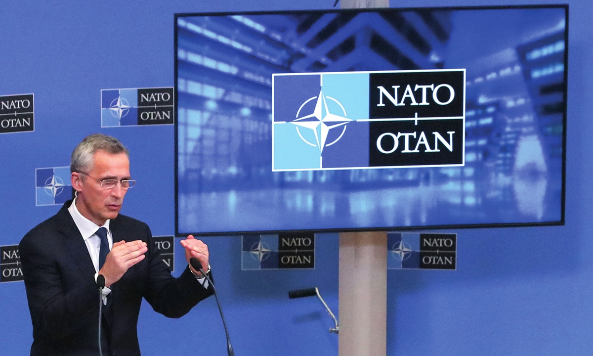 NATO Secretary General Jens Stoltenberg holds a press conference following a NATO foreign ministers in-person meeting at NATO's headquarters in Brussels on Tuesday. The alliance had not made a final decision regarding troop withdrawal from Afghanistan, a deadline that is 40 days away. Photo: VCG