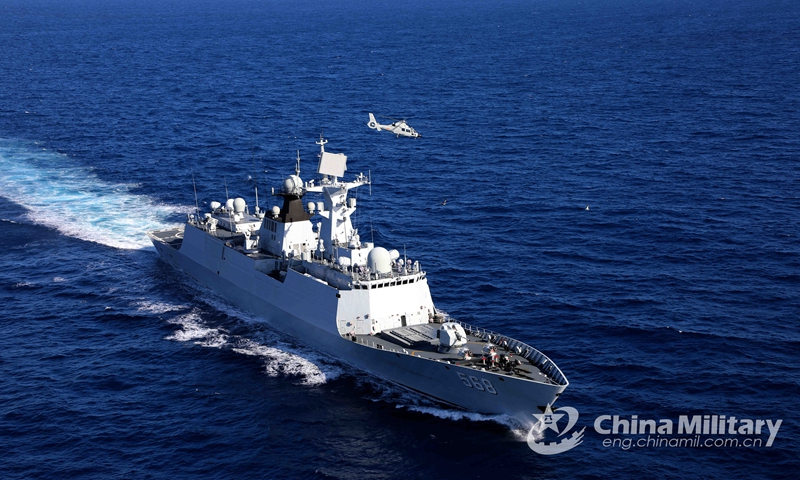 A ship-borne helicopter attached to a naval flotilla under the PLA Southern Theater Command takes off from the guided-missile frigate Hengyang (Hull 568) during a combined arms training exercise. The flotilla under training has traveled more than 8,000 nautical miles in over 30 days, conducting dozes of exercise items including air and missile defense, anti-terrorism and anti-piracy operation, and joint search and rescue.  Photo: China Military Online