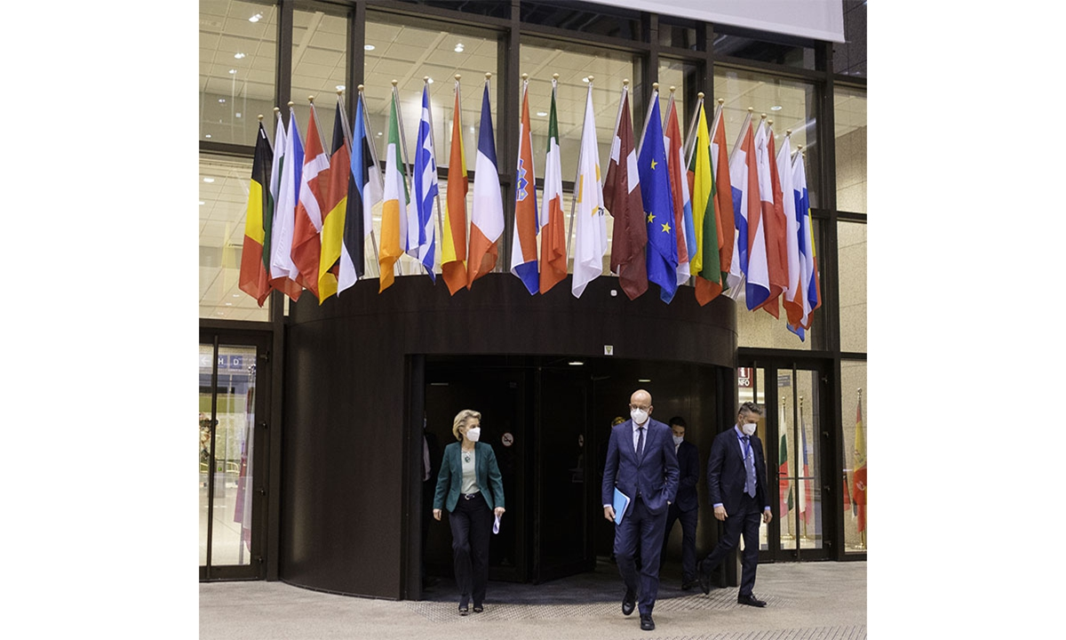 President of the European Council Charles Michel (2nd L) and European Commission President Ursula von der Leyen (L) arrive to hold a joint press conference after EU Leaders' Summit in Brussels, Belgium on March 25, 2021. Photo: VCG